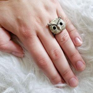 Francescas Owl Silver Stretch Ring